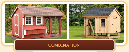 Combination Chicken Coops with included chicken run