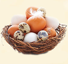 eggs sitting in straw in basket