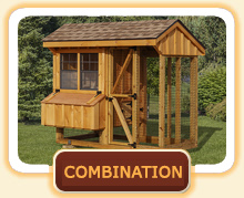Combination run and coop chicken coops - great for backyards